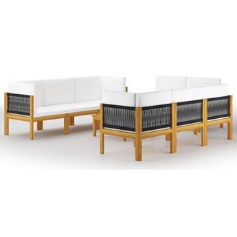 vidaXL 9-cz. zestaw wypoczynkowy do ogrodu, kremowe poduszki, akacja