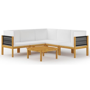 vidaXL 6-cz. zestaw wypoczynkowy do ogrodu, kremowe poduszki, akacja