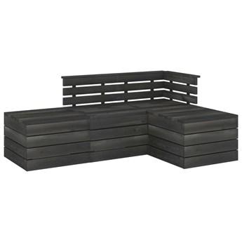 vidaXL 4-cz. zestaw wypoczynkowy z palet, drewno sosnowe, ciemnoszary