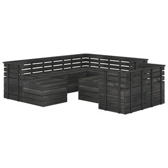 vidaXL 10-cz. zestaw wypoczynkowy z palet, poduszki, ciemnoszara sosna