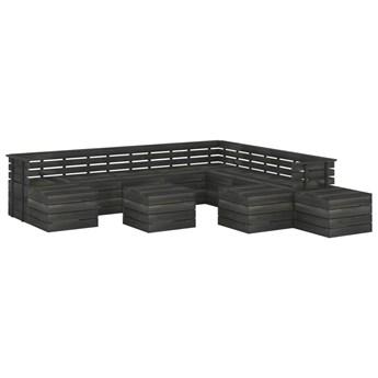 vidaXL 12-cz. zestaw wypoczynkowy z palet, drewno sosnowe, ciemnoszary