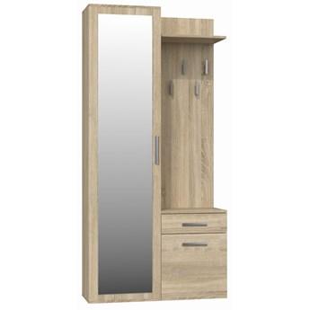 Garderoba szafa z lustrem + wieszak dąb sonoma - Meb24.pl