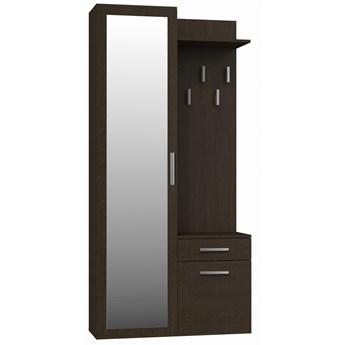 Garderoba szafa z lustrem + wieszak wenge - Meb24.pl