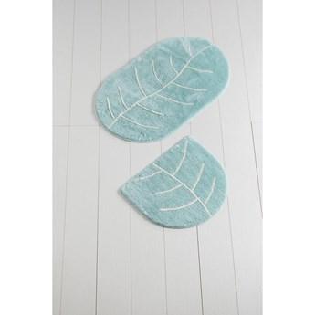 Komplet 2 niebieskich dywaników łazienkowych Yaprak