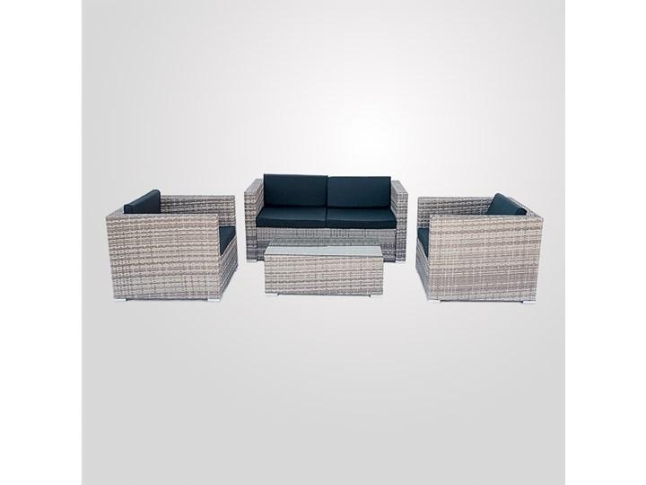 4-częściowy zestaw mebli rattanowych z wygodnymi poduszkami Stoły z krzesłami Liczba miejsc Czteroosobowy Technorattan Tworzywo sztuczne Kolor Czarny