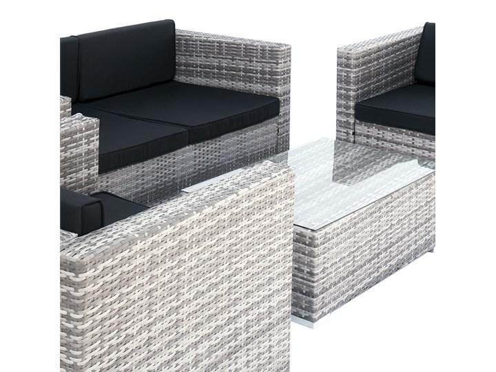 4-częściowy zestaw mebli rattanowych z wygodnymi poduszkami Technorattan Tworzywo sztuczne Stoły z krzesłami Liczba miejsc Czteroosobowy Kolor Czarny