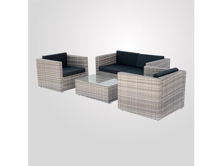 4-częściowy zestaw mebli rattanowych z wygodnymi poduszkami Tworzywo sztuczne Liczba miejsc Czteroosobowy Technorattan Stoły z krzesłami Kolor Szary