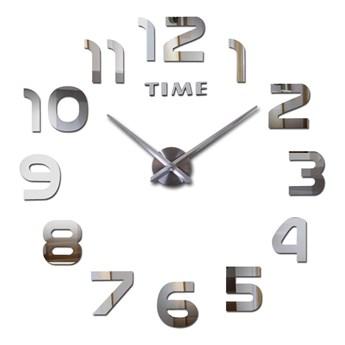 Zegar ścienny DIY NEPRI 65 - 130 cm - srebrny 3D