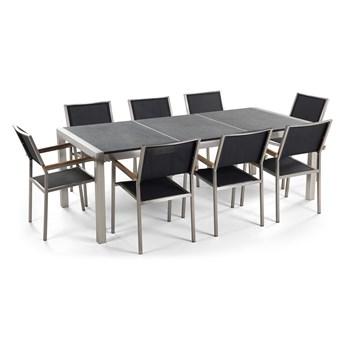 Zestaw mebli ogrodowych jadalniany szary stół granit/bazalt 220 x 100 cm 8 krzeseł czarnych tekstylnych sztaplowanych