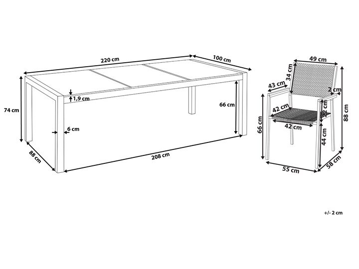 Zestaw mebli ogrodowych jadalniany szary stół granit/bazalt 220 x 100 cm 8 czarnych krzeseł z technorattanu sztaplowanych Stoły z krzesłami Stal Kolor Srebrny