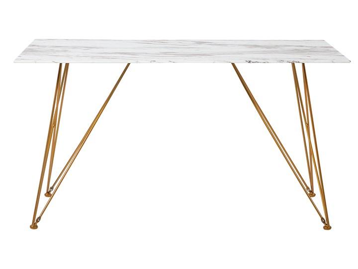 Stół do jadalni efekt marmuru biały ze złotym blat szkło hartowane metalowe nogi 140 x 80 cm styl glam salon Długość 140 cm  Pomieszczenie Stoły do jadalni Kategoria Stoły kuchenne