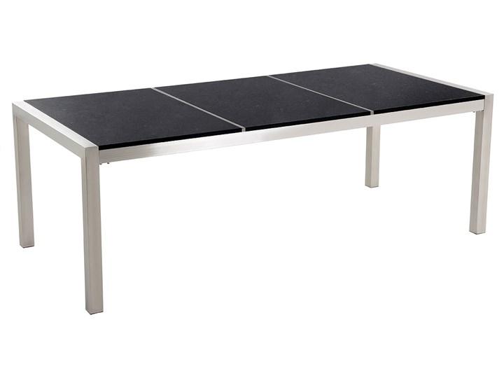 Zestaw mebli ogrodowych jadalniany czarny stół granit/bazalt 220 x 100 cm 8 krzeseł z technorattanu sztaplowanych Stal Stoły z krzesłami Zawartość zestawu Krzesła