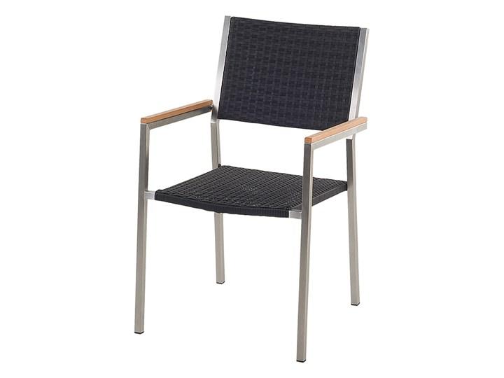 Zestaw mebli ogrodowych jadalniany szary stół granit/bazalt 220 x 100 cm 8 czarnych krzeseł z technorattanu sztaplowanych Stal Stoły z krzesłami Kategoria Zestawy mebli ogrodowych
