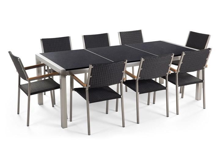 Zestaw mebli ogrodowych jadalniany czarny stół granit/bazalt 220 x 100 cm 8 krzeseł z technorattanu sztaplowanych