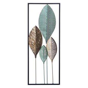 Dekoracja ścienna liście zielono-złoty metalowa ażurowa ozdoba styl nowoczesny