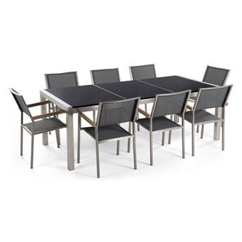 Zestaw mebli ogrodowych jadalniany czarny stół granit/bazalt 220 x 100 cm 8 krzeseł szarych tekstylnych sztaplowanych