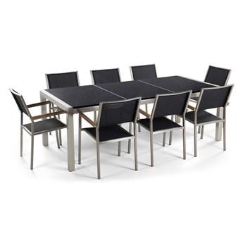 Zestaw mebli ogrodowych jadalniany czarny stół granit/bazalt 220 x 100 cm 8 krzeseł tekstylnych sztaplowanych