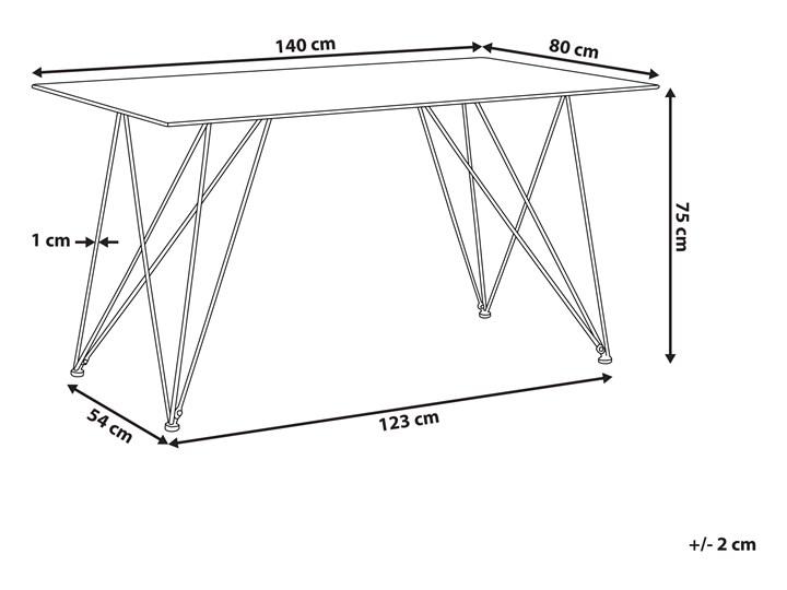 Stół do jadalni efekt marmuru biały ze złotym blat szkło hartowane metalowe nogi 140 x 80 cm styl glam salon Długość 140 cm  Pomieszczenie Stoły do salonu