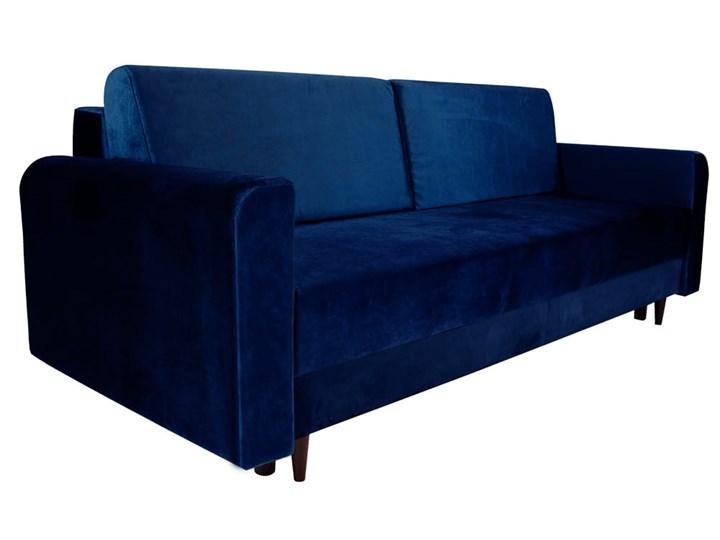 Nowoczesna sofa z funkcją spania ELIZA w kolorze ciemnoniebieskim Głębokość 97 cm Szerokość 225 cm Głębokość 55 cm Kolor Granatowy