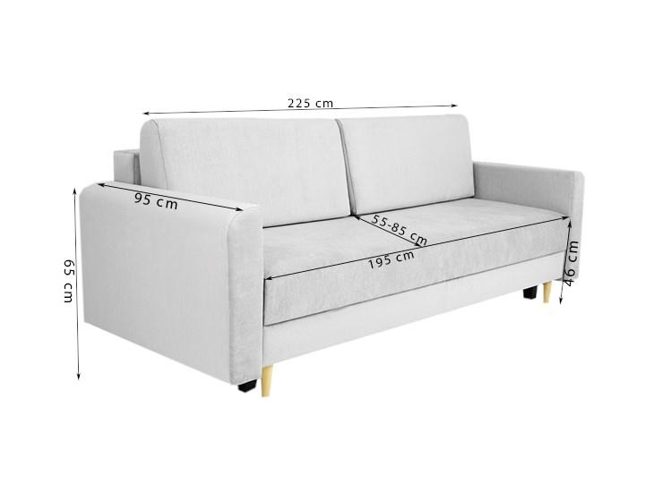 Nowoczesna sofa z funkcją spania ELIZA w kolorze szarym Szerokość 225 cm Nóżki Na nóżkach Głębokość 97 cm Głębokość 55 cm Materiał obicia Tkanina