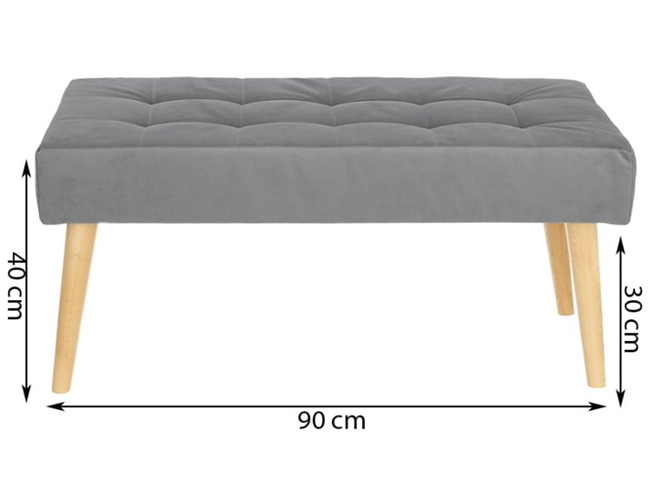 Nowoczesna ławka 45x90cm w kolorze szarym Pikowana Materiał obicia Tkanina Pomieszczenie Salon