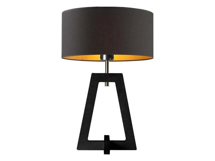 LAMPA NA STOLIK TERIO WALEC GOLDEN Wysokość 47 cm Drewno Pomieszczenie Sypialnia Lampa z abażurem Pomieszczenie Salon
