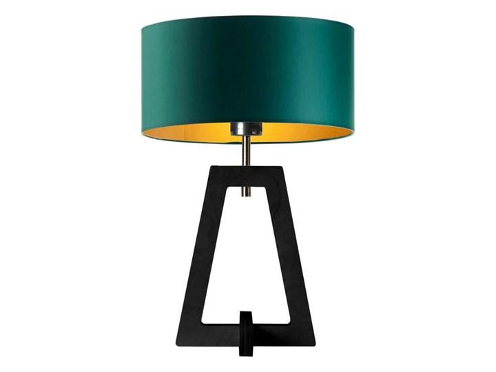 LAMPA NA STOLIK TERIO WALEC GOLDEN Wysokość 47 cm Drewno Lampa z abażurem Styl Nowoczesny