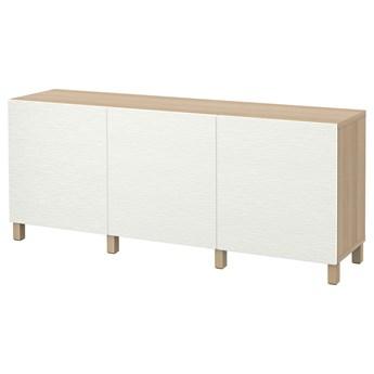 IKEA BESTÅ Kombinacja z drzwiami, Dąb bejcowany na biało/Laxviken/Stubbarp biały, 180x42x74 cm