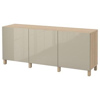 IKEA BESTÅ Kombinacja z drzwiami, Dąb bejcowany na biało/Selsviken/Stubbarp wysoki połysk beż, 180x42x74 cm