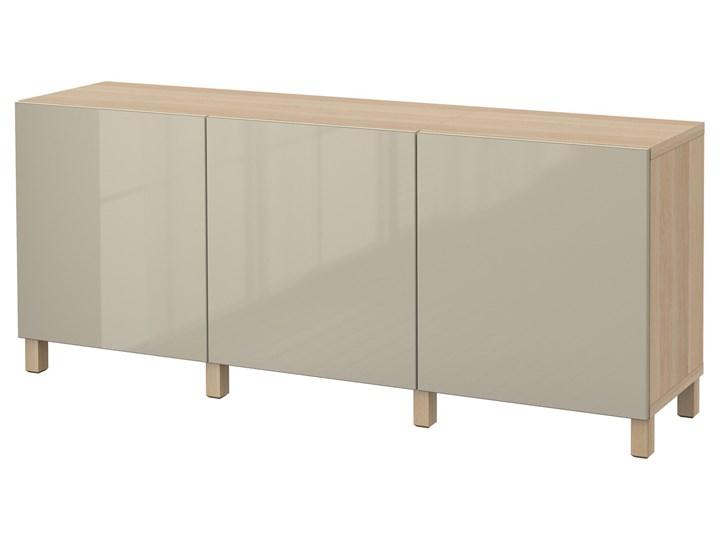 IKEA BESTÅ Kombinacja z drzwiami, Dąb bejcowany na biało/Selsviken/Stubbarp wysoki połysk beż, 180x42x74 cm Wysokość 42 cm Płyta MDF Szerokość 180 cm Drewno Z szafkami Głębokość 42 cm Pomieszczenie Pokój nastolatka