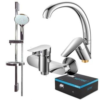 SOTBE MARDOLA Zestaw bateria umywalkowa wysoka asymetryczna + bateria prysznicowa + drążek prysznicowy