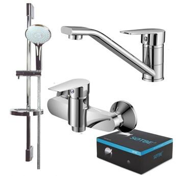 SOTBE MARDOLA Zestaw bateria umywalkowa niska ruchoma wylewka + bateria prysznicowa + drążek prysznicowy