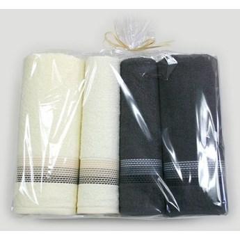 Komplet 4 ręczników na prezent Ombre Kremowy brązowy