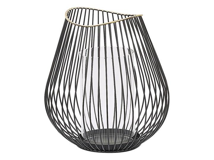 Lampion czarny metalowy 22 cm świecznik ze szklanym wkładem dekoracyjny Szkło Kategoria Świeczniki i świece