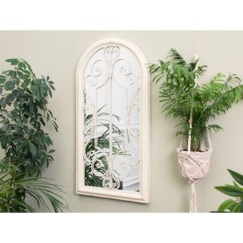 Lustro ścienne wiszące białe ozdobne w kształcie okna vintage
