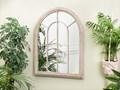 Lustro ścienne wiszące beżowe 69 x 88 cm w kształcie okna salon przedpokój Styl Nowoczesny Lustro z ramą Nieregularne Styl Klasyczny