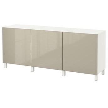 IKEA BESTÅ Kombinacja z drzwiami, Biały/Selsviken/Stubbarp wysoki połysk beż, 180x42x74 cm