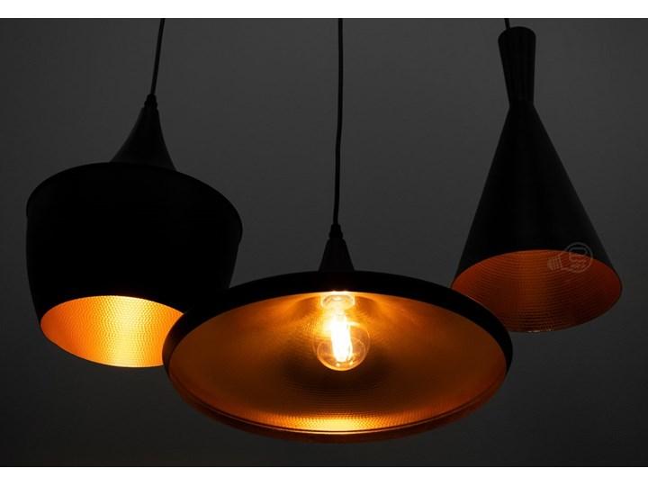 Lampa wisząca LACRI SQ 3xE27 czarna pozłacana EDO777181 EDO Metal Lampa z kloszem Szkło Lampa inspirowana Stal Pomieszczenie Sypialnia Tkanina Ilość źródeł światła 3 źródła