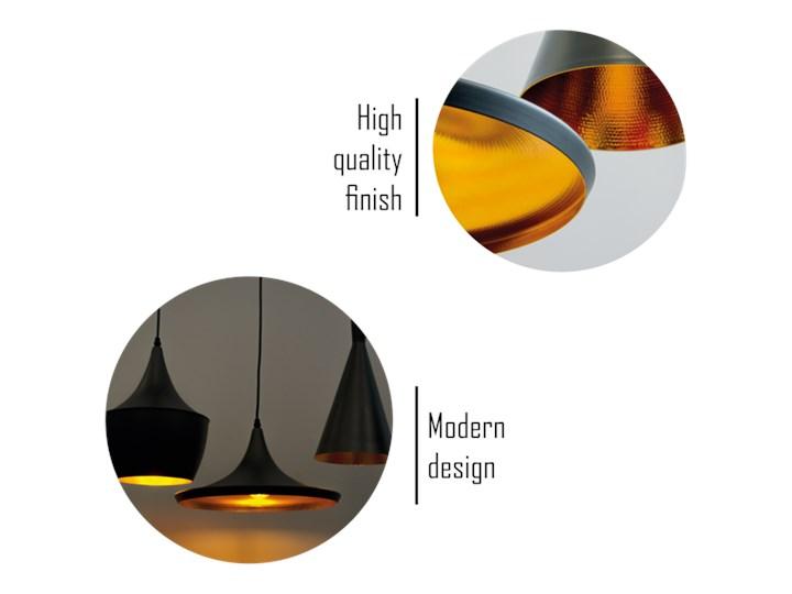 Lampa wisząca LACRI SQ 3xE27 czarna pozłacana EDO777181 EDO Stal Lampa inspirowana Lampa z kloszem Tkanina Szkło Metal Pomieszczenie Kuchnia
