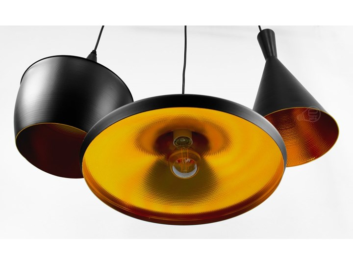 Lampa wisząca LACRI SQ 3xE27 czarna pozłacana EDO777181 EDO Szkło Stal Pomieszczenie Salon Lampa inspirowana Metal Tkanina Lampa z kloszem Kolor Czarny