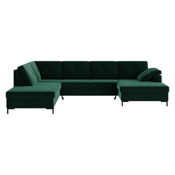 Ciemnozielona aksamitna rozkładana sofa w kształcie U Ghado Moor, lewostronna