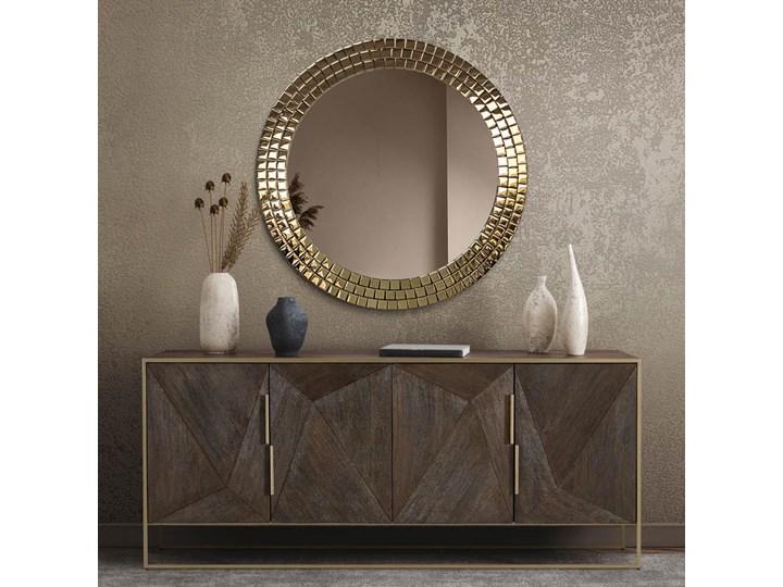 Lustro Aurora Gold Okrągłe Ścienne Lustro z ramą Pomieszczenie Salon