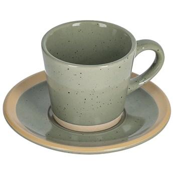 Filizanka do kawy i spodek Tilia ceramiczny ciemnozielony
