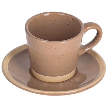 Filizanka do kawy i spodek Tilia ceramiczny jasnobrazowy