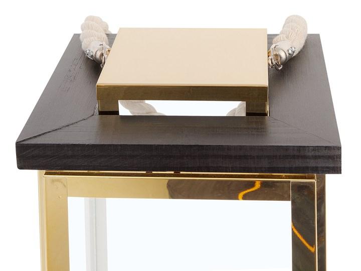 Lampion mosiężny ciemne drewno metalowy 41 cm boki ze szkła uchwyt nowoczesny Kategoria Świeczniki i świece Szkło Stal Kolor Brązowy