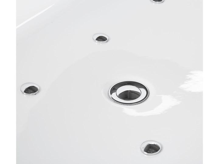 Wanna wolnostojąca biała akrylowa 170 x 80 cm LED hydromasaż system przelewowy owalna współczesna Wolnostojące Kolor Biały Kategoria Wanny