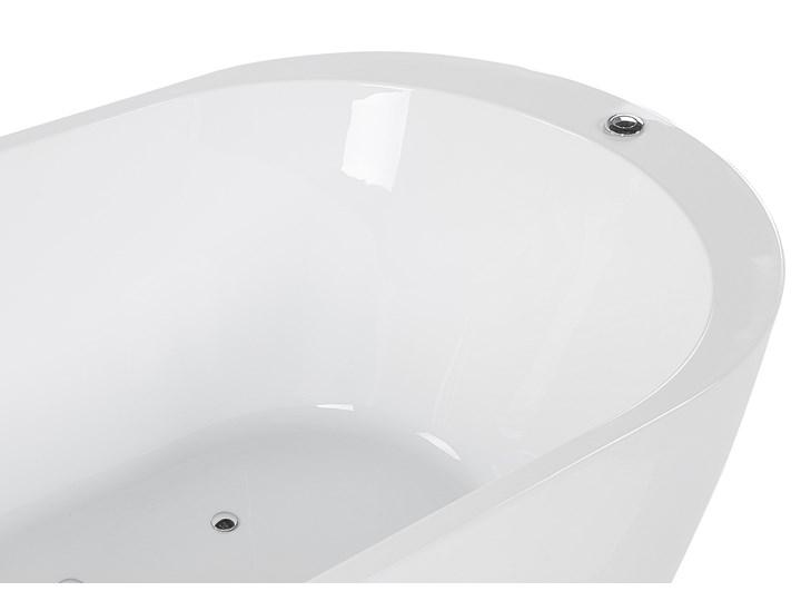 Wanna wolnostojąca biała akrylowa 170 x 80 cm LED hydromasaż system przelewowy owalna współczesna Wolnostojące Kolor Biały
