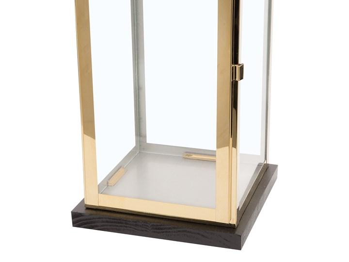 Lampion mosiężny ciemne drewno metalowy 41 cm boki ze szkła uchwyt nowoczesny Stal Kolor Brązowy Szkło Kategoria Świeczniki i świece
