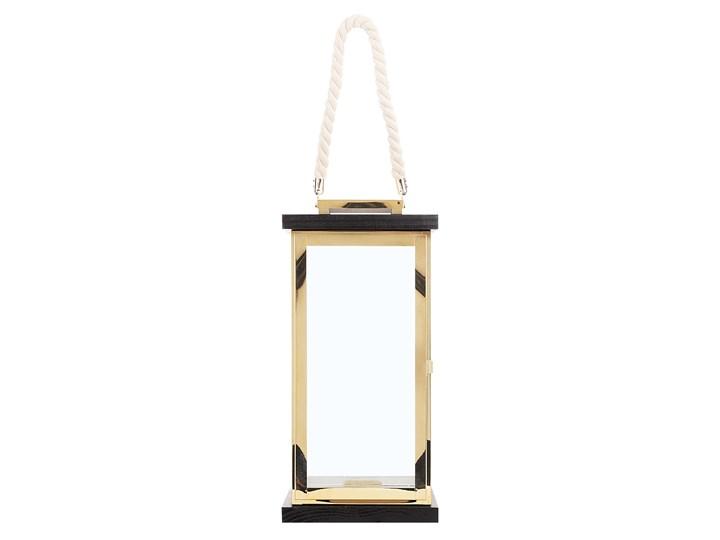 Lampion mosiężny ciemne drewno metalowy 41 cm boki ze szkła uchwyt nowoczesny Stal Szkło Kategoria Świeczniki i świece