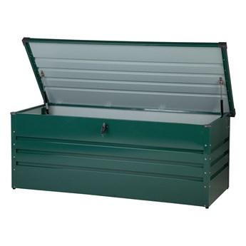 Skrzynia ogrodowa zielona metalowa kufer balkonowy na poduszki 165 x 70 cm